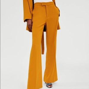 EMRATA WEDDING ZARA MUSTARD FLARED PANTS TROUSERS